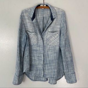 Cloth + Stone Blue Knit Tweed Split Back Top - S